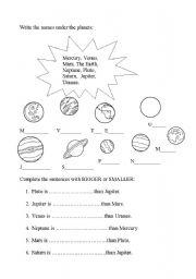 planets - ESL worksheet by Esther62