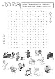 English Worksheet: Jobs word search