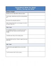 English Worksheet: Reading to Comprehend: Before, During and After You Read