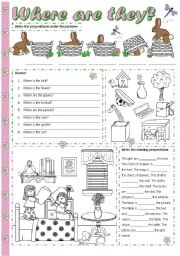English Worksheet: Where are they? - Prepositions of place