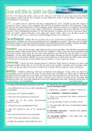 English Worksheet: LIFE IN THE FUTURE/FUTURE TECHNOLOGY/INNOVATIONS - HOW WILL LIFE IN 2050 BE LIKE?