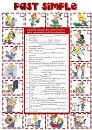 English Worksheet: Past Simple Tense (B&W + KEY imcluded)