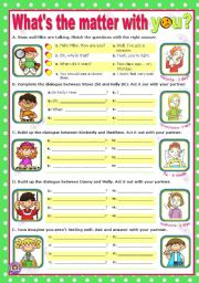 English Worksheet: What�s the matter with you?  -  easy, short dialogues for young learners