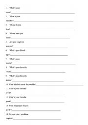 English Worksheets: First Class Questionaire
