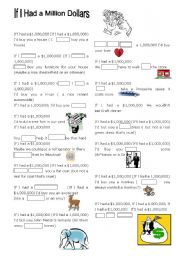 English Worksheet: Conditionals Song If I had a Million Dollars