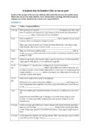 English Worksheet: Information Gap Activity - A typical day in Sandra´s life as an au pair