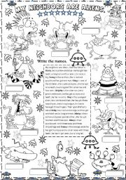 English Worksheets: my neighbors are aliens