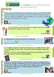 English Worksheets: Have you ever travelled on a plane all by yourself? Question and answers from a forum.