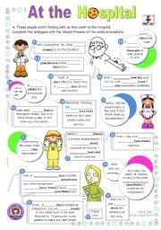 English Worksheet: At the Hospital  -  short dialogue series