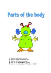 English Worksheet: PARTS OF THE BODY