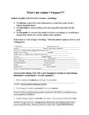 English Worksheets: What�s the Author�s Purpose?