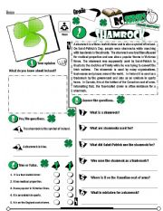 English Worksheet: RC Series_Level 01_Irish Edition_02 Shamrock (Fully Editable + Key)