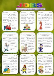 English Worksheet: JOBS - TO BE/ HAVE GOT
