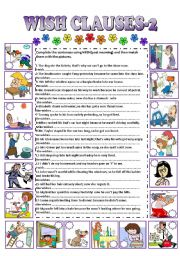 English Worksheets: WISH CLAUSES-2