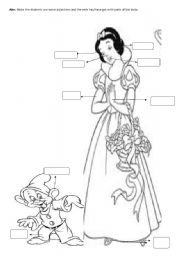 English Worksheets: snowhite and a dwarf