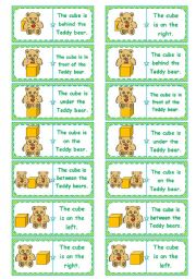 English Worksheets: Where�s the cube? � preposition dominoes, memory cards, gap-filling, directions � editable � 5 pages