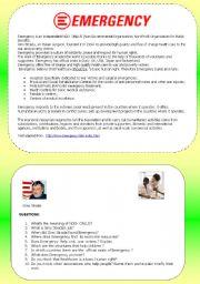 English Worksheets: EMERGENCY- Reading Comprehension