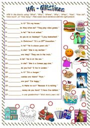 English Worksheet: Wh- questions where when what who how how many how much how old