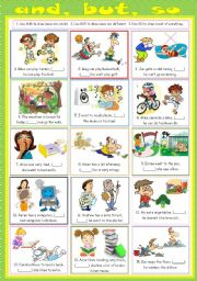 English Worksheets: And/But/So (2 p. exercise & B&W & Answer keys)