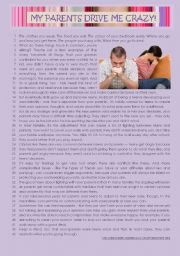 English Worksheet: text - TEENS & PARENTS� RELATIONSHIP + Comprehension + Rephrasing + Essay. KEY INCLUDED