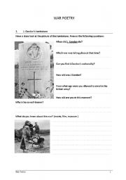 English Worksheets: War Poets