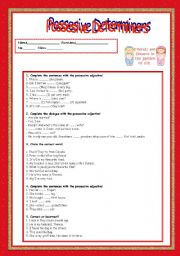 English Worksheets: possesive determiners