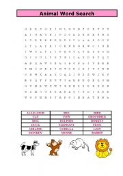 English Worksheets: animal word search