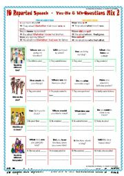 English Worksheet: 10 REPORTED SPEECH - Yes-No & Wh-Questions  Mix 2