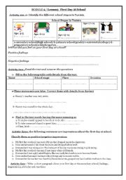 English worksheets: first day worksheets, page 3