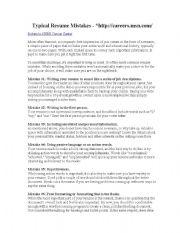 English Worksheets: resume mistakes
