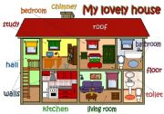 English Worksheet: My lovely house - parts of a house & furniture *3pages -POSTER + EXERCISES* (B&W included)