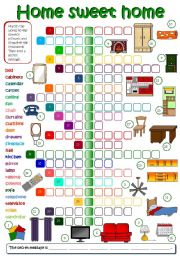 English Worksheet: Home sweet home - parts of a house & furniture (B&W +  KEY included)