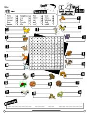 English Worksheets: Word To Find Series_02 North American Animals (Fully Editable + Key) (RE-UP)