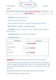 English Worksheets: LESSON PLAN FAVOURITE TEACHER