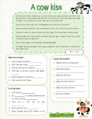 English Worksheets: A cow kiss
