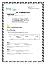 English Worksheet: Song: Fix you by Coldplay