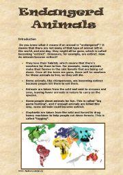 English Worksheets: Endangered Animals Webquest
