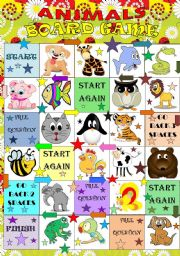 English Worksheet: Animals BOARD GAME