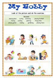 ESL worksheets for beginners: My Hobby