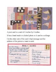 English Worksheets: Learning Post card