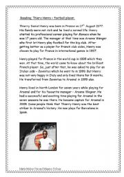 English Worksheets: Thierry Henry - Footballer