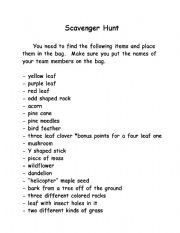 English teaching worksheets: Scavenger hunt