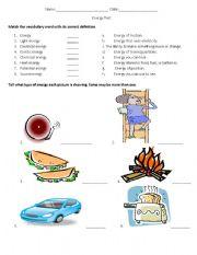 English Worksheet: Energy Test