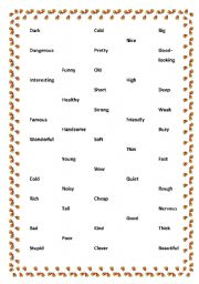 English Worksheet: Adjectives pair game