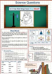 English Worksheets: Is it true that kings have blue blood?  Science   14