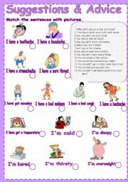 English Worksheets: Suggestions&Advices