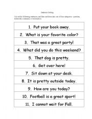 Printables Imperative And Exclamatory Sentences Worksheet english worksheets sentence sorting worksheet sorting
