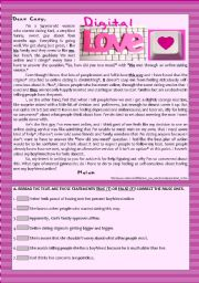 Text  - Digital Love (Online Romance) + Comprehension + Rephrasing + Essay/Debate
