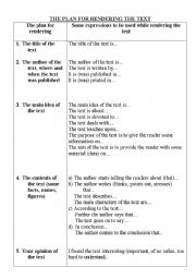 English Worksheets: THE PLAN FOR RENDERING THE TEXT