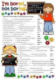 English Worksheet: I�m bored, not boring. - ADJECTIVES WITH -ED & -ING *B&W + KEY included*